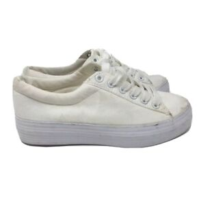 UK 3 EUR 36 Flat Canvas Shoes White