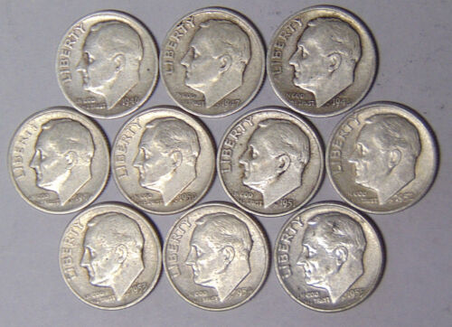 San Francisco Mint Dime Set All 10 Roosevelt Silver Dimes 1946-S to 1955-S