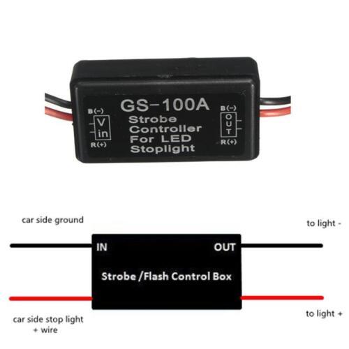 12V GS-100A LED Brake Stop Light Strobe Flash Module Controller Box Accessory SV