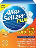 Alka-seltzer Plus Severe Cold & Flu Citrus Formula Effervescent Tablets 20 Count on sale