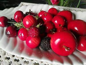 33 x Deko Kirschen Früchte Attrappen Brombeere Himbeere  Dekofrüchte Äpfel Rot