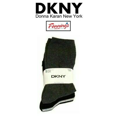 DKNY Women/'s 5 Pairs Fine Combed Cotton Crew Socks  SIZE 4-10 Multicolored NWT