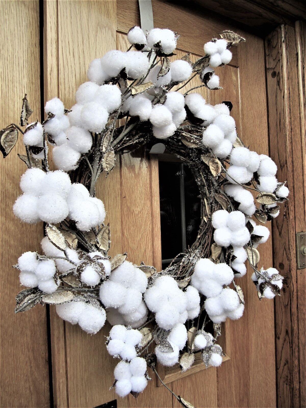 50 cm Cotton Snowball Christmas Winter Wonderland Wreath 6748