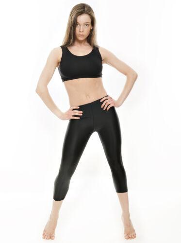 Ladies Womens Black Shiny Lycra 3//4 Capris Dance Gym Ballet Leggings KDT003 Katz