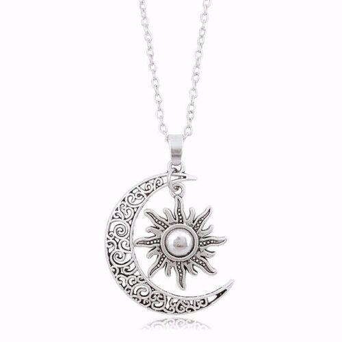 """1-1//2/"""" croissant de lune avec 1/"""" Sun Dangle Pendentif 27/"""" Lien Chaîne Collier #2"""