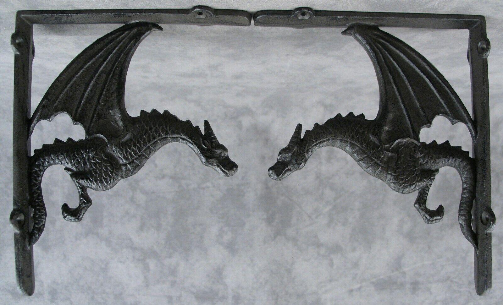 Pair Victorian Style Cast Iron Shelf Brackets Vintage Art Antique  9 x 7ins