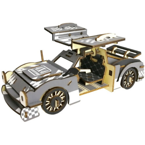 Assembly DIY Education Toy 3D Wooden Model Puzzles Cool Running Chariot Car