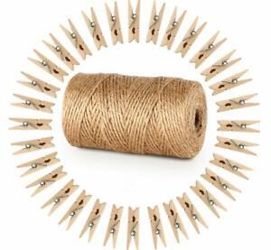 Ficelle-Jute-100M-100-Mini-Bois-Naturel-Craft-Pinces-Linge-Clips-Cadeau-de-Noel