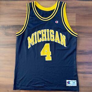 Vintage Champion Michigan Wolverines Chris Webber 4 Jersey Size 44 Fab 5 Five Ebay