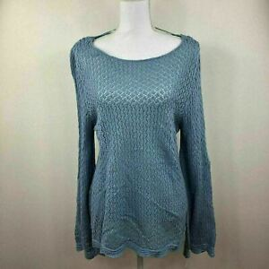 Style-amp-Co-Womens-Crochet-Sweater-Top-Knit-Blue-Variety-Sizes