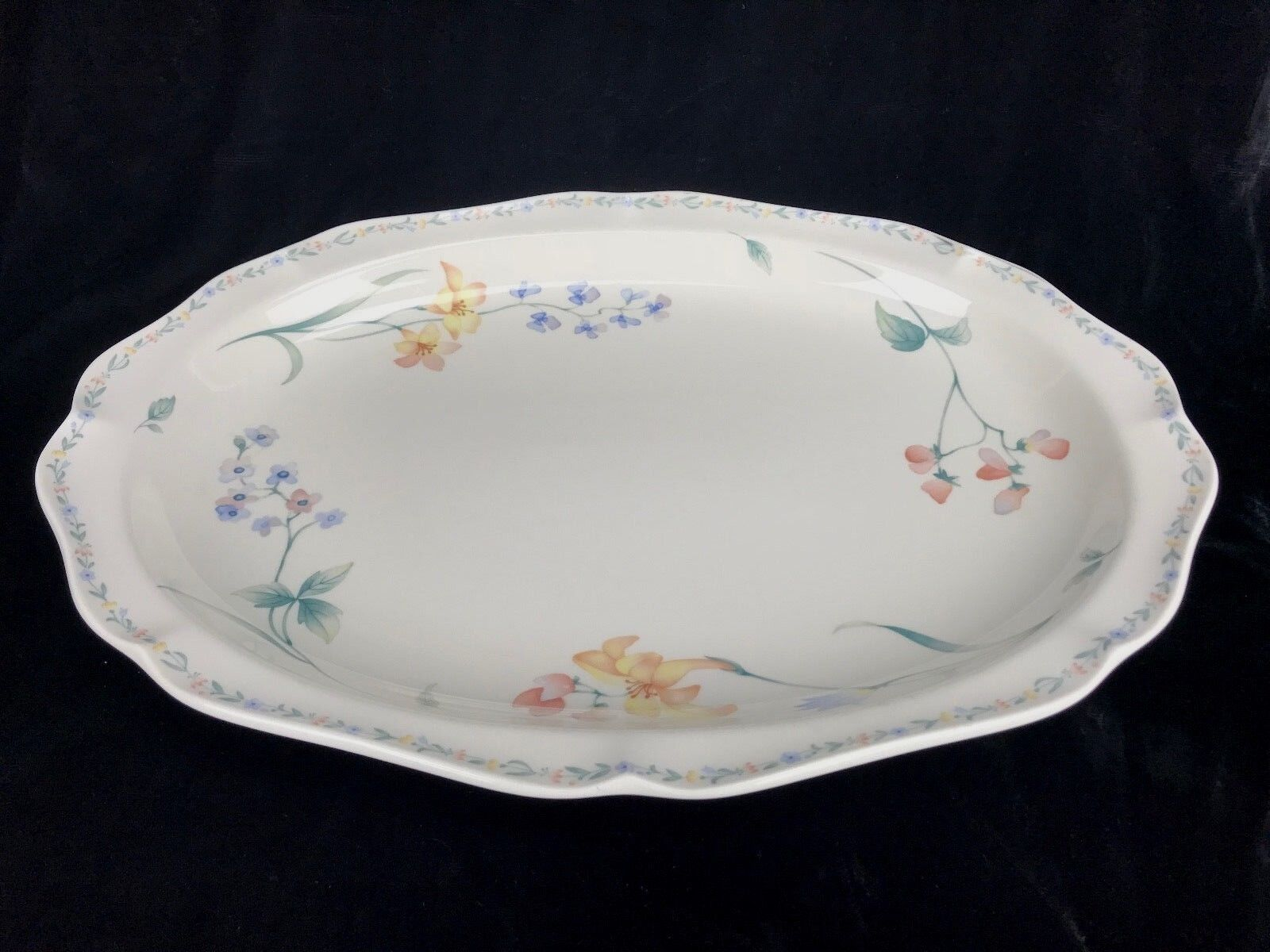 Noritake American Flowers Serving Platter 14 1 2 X 10 1 2 Japan