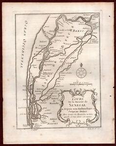 Ca 1750 Cours De La Riviere De Senegal Africa Antique Map