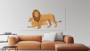 Beautiful Abstract Design Lion cub Print Home Decor Wall Art choose your size