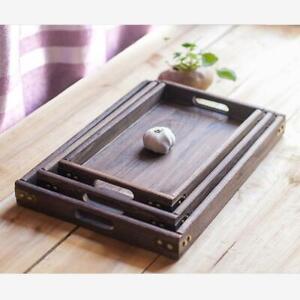 Wooden Retro Dessert Breakfast Tea Coffee Snack Serving Tray With Handles S M L