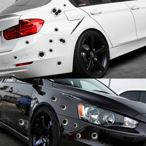 3D 21X30CM Bullet Holes Car Stickers Scratch Decal Waterproof Motorcycle Sticker