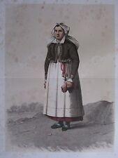 1872 PRINT SWEDISH PEASANT COSTUME WOMAN JARRESTAD DISTRICT Skanska Folkdragter