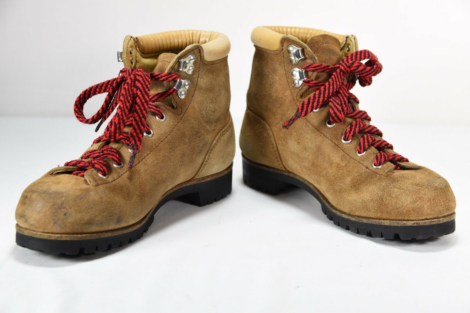 Vintage VASQUE Women's Tan Leather Hiking Boots Model 7508 Size 7.5 Red Laces