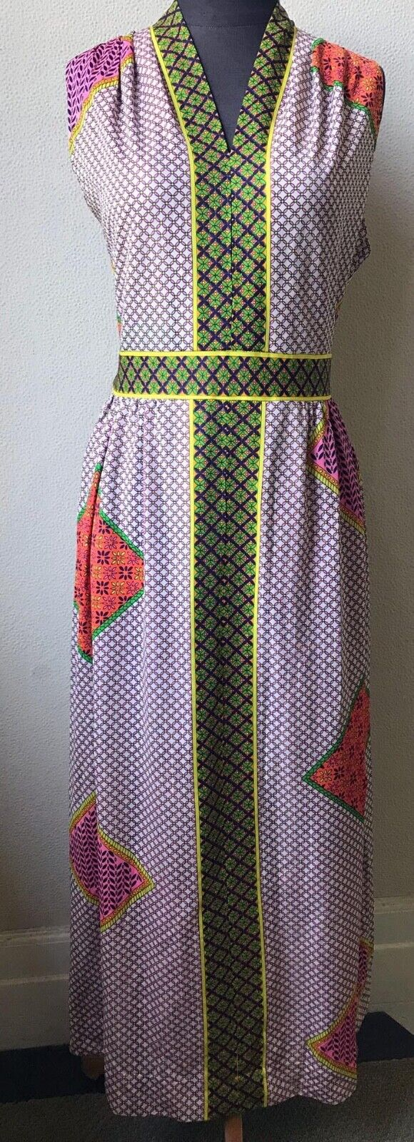 60's Really Cute Patchwork Mod Look Summer Maxi D… - image 3