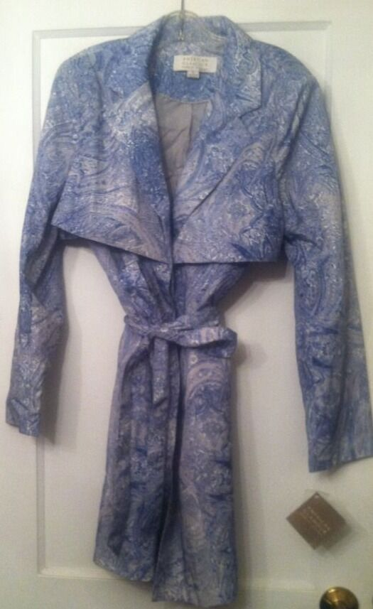 American Glamour By BADGLEY MISCHKA Button Up TRENCH COAT L (ABIGAIL C157) NWT