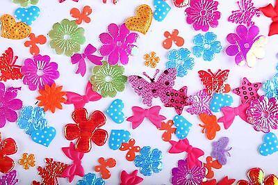 CraftbuddyUS 200 Mixed Fabric Bright Flowers, Butterflies Motifs Sew On StitchOn