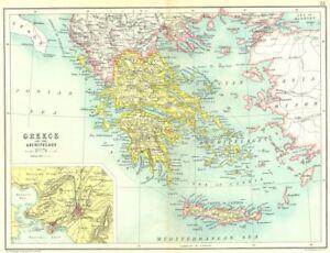 Details About Greece Crete Shows Autonomous Cretan State Archipelago Athens 1909 Map