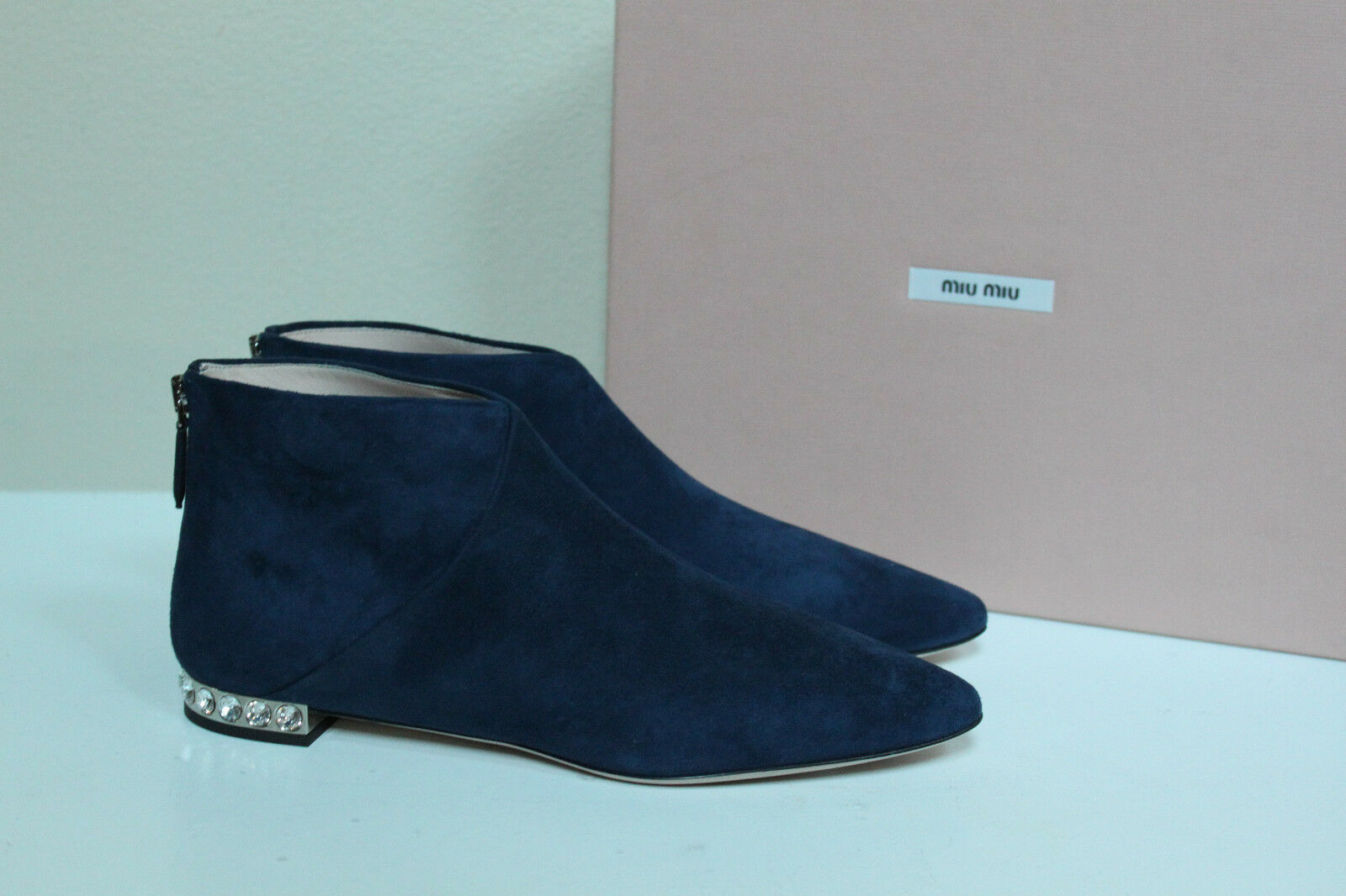 New Miu Miu Blue Suede Pointed toe Crystal Heel Flat Ankle Boot Shoes 6.5 / 36.5