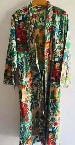 Indian Kimono Cotton Gown Frida Kahlo Print Night Wear Women Long Dress Hippie