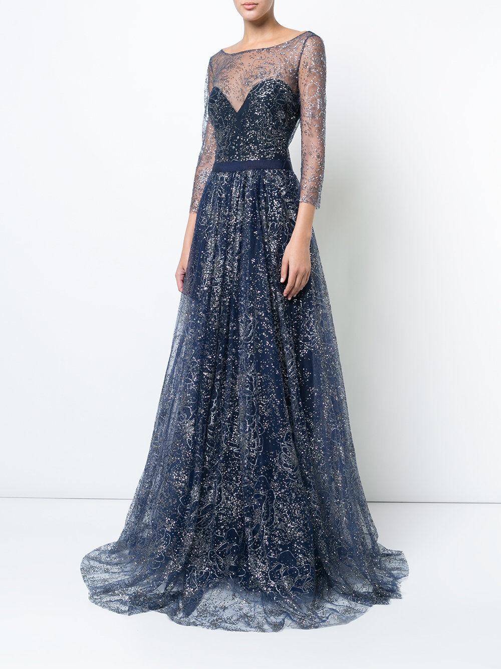 Neu Marchesa Notte Marine Blau Glitter Tüll Abendkleid Bestickt Kristallen 6 10