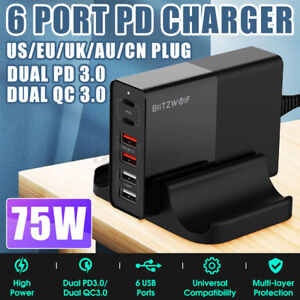 6 Ports QC3.0 PD Fast Charger Wall Charging Adapter Cable w/ Base Phone Rac
