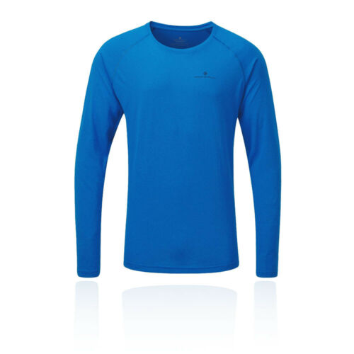 RonHill Mens Core LS Running Top Blue Sports Breathable Lightweight