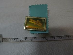 First-flight-Wright-brothers-1903-plane-RARE-postage-stamp-37-CNT-pin-hat-lapel