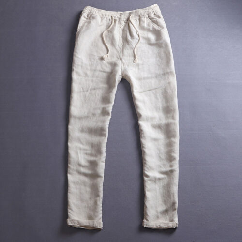 Men/'s Beach  Rope Tie Drawstring Pants Summer Linen Thin Trousers Casual//Travel