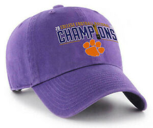 CLEMSON-TIGERS-PURPLE-2018-NATIONAL-CHAMPS-DAD-CAP-HAT-CLEAN-UP-NEW-039-47-BRAND