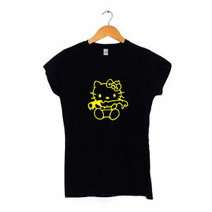 Evil-Hello-Kitty-Womens-Ladies-T-Shirt-S-XXL-Dark-Zombie-Gothic