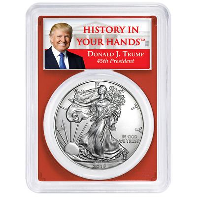 2019 $1 American Silver Eagle PCGS MS70 Trump Label Red Frame