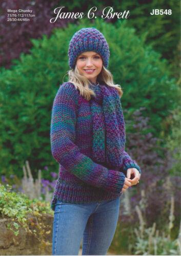 James Brett Womens Super Chunky Knitting Pattern Jumper Hat /& Scarf JB547