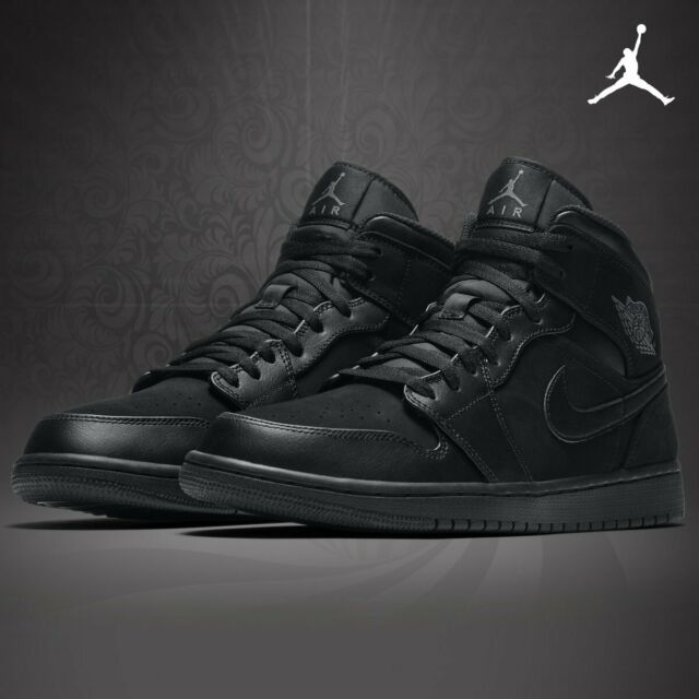 NEW MEN'S NIKE AIR JORDAN 1 MID BLACK BASKETBALL SHOES SZ 10.5 [554724-050]