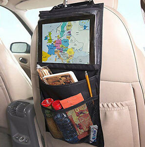 travel kids black car seat back hanging ipad holder w storage organizer bag ebay. Black Bedroom Furniture Sets. Home Design Ideas