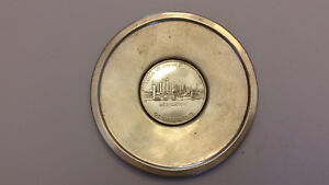 Come By Chance Refinery Vintage Sterling Silver Token Embedded in Sterling Tray
