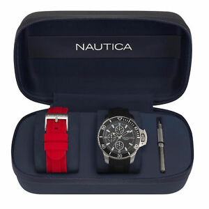 Nautica-Mens-Bayside-Watch-Gift-Set-with-Sport-Strap