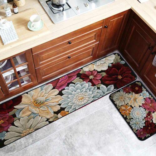 2PCS Vintage Flowers Kitchen Rugs Floor Mat Non-Slip Doormat Runner Rug Set