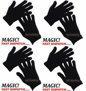 Wholesale 30 Pairs Black Magic Gloves Unisex Men Ladies Winter one size Job lot