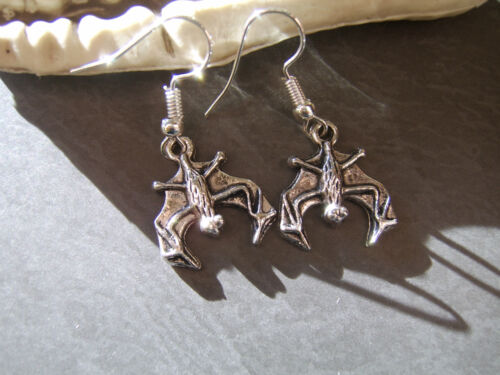 BAT EARRINGS HAND CRAFTED IN THE UK.BAT JEWELLERY TIBETAN SILVER BAT EARRINGS