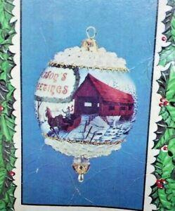 LeeWards CHRISTMAS ON WHEELS Train Car Flocked Vtg Sequin Bead Ornament Kit NOS