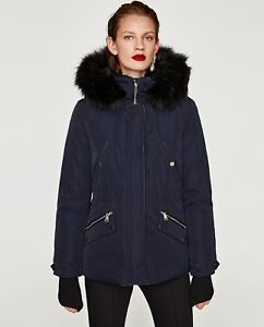 5183d706c Details about ZARA NEW AW 2018. NAVY PARKA WITH TEXTURED HOOD WITH FUR. REF  0518/242