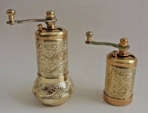 Turkish Coffee Pepper Grinder Mill Set 20cm,10cm,7cm Silver Copper Brass of 3