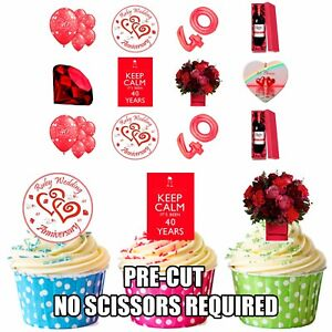 PRECUT-Ruby-40-Wedding-Anniversary-Party-36-Edible-Cupcake-Toppers-Decorations