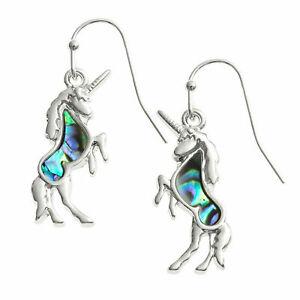 Unicorn-Earrings-Paua-Abalone-Shell-Womens-Silver-Fashion-Jewellery-25mm-Drop