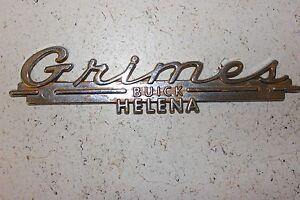 Grimes Buick Helena Metal Dealer Emblem Decal Script
