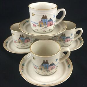 Set-of-4-VTG-Cups-and-Saucers-International-China-Co-Heartland-Stoneware-Farm